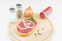 Roll with minced pork Stock Images