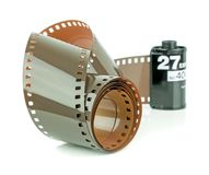 A roll of 35mm camera film. On a white background Royalty Free Stock Photo