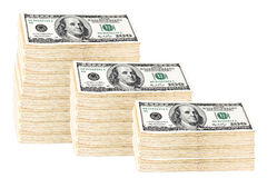 Roll of money of 100 dollars. Isolated on white Stock Photos