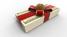 Roll of money. In a gift tape on a plane Stock Photo