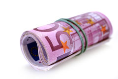 Roll of money and bow Stock Photo