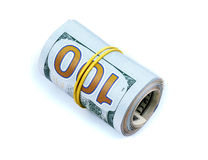 Roll of money isolated on white background Royalty Free Stock Photo