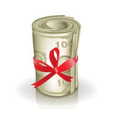 Roll of money with red ribbon Stock Photos