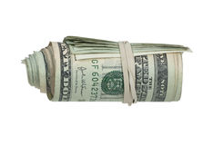 Roll of Money with Rubberband Royalty Free Stock Photos