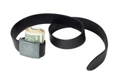 Roll of money tightened by leather belt Stock Photography