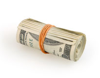Roll of money on white background. With clipping path stock image