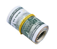 Roll of money on white background Stock Photo