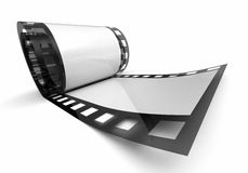 Roll of negative film. 3d illustration of blank role of negative film with copy space, white background Royalty Free Stock Image