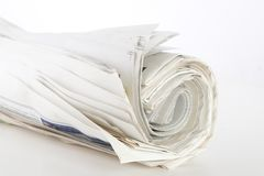 Roll of newspapers Royalty Free Stock Images