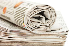 Roll of newspapers, isolated on white background Royalty Free Stock Images