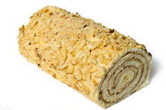 Roll with nuts and chocolate chips. Royalty Free Stock Image