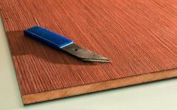 Roll of oak veneer. And furniture blanks for veneering Stock Image