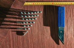 Roll of oak veneer. And furniture blanks for veneering Royalty Free Stock Images