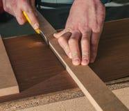 Roll of oak veneer. And furniture blanks for veneering Stock Photo
