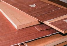 Roll of oak veneer. And furniture blanks for veneering Stock Photos