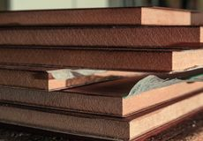 Roll of oak veneer. And furniture blanks for veneering Stock Photography