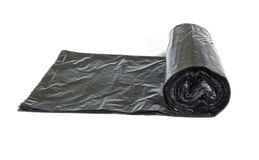Roll Of Disposable Trash Bags Isolated Over White Stock Photography