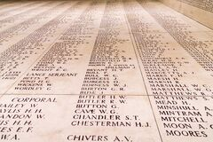 Free Roll Of Honnour Of Fallen Soldiers At The Menin Gate, Ypres In Belgium Royalty Free Stock Photo - 190052305