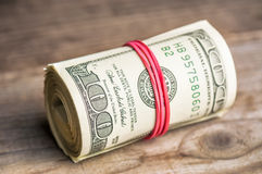 Roll Of Hundred Dollars Stock Photography