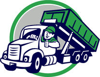 Roll-Off Bin Truck Driver Thumbs Up Circle Cartoon. Illustration of a roll-off bin truck driver smiling with thumbs up viewed from front set inside circle done stock illustration