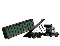 Roll Off Refuse Trash Container and Garbage Truck stock images