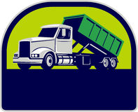 Roll-Off Truck Side Up Half Circle Retro Royalty Free Stock Photos