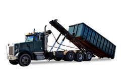 Roll Off Truck Unloading Trash Container Dumpster Stock Photography