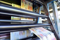 Roll offset print machine in a large print shop for production o. F newspapers & magazines royalty free stock photo