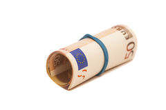 Roll of one Fifty euro banknotes with a rubber band Stock Photos