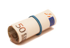 Roll of one Fifty euro banknotes with a rubber band Royalty Free Stock Photography