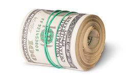 Roll Of One Hundred Dollar Bills Lying Horizontally Stock Image