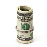 Roll of One Hundred Dollar Bills Tied in Burlap String. Isolated on a White Background Royalty Free Stock Photo