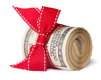 Roll Of One Hundred Dollar Bills Tied With Red Ribbon Stock Images