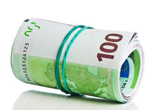 Roll of one hundred euro bills with a rubber band Stock Image