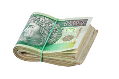 Roll of one hundred polish zloty Stock Photo