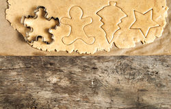 Roll out the dough cut Christmas figures Royalty Free Stock Photography