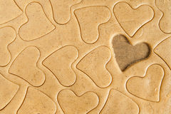 Roll out the dough to cut out heart shapes Royalty Free Stock Image