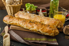 Roll out puff pastry stuffed Stock Photo