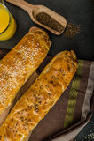 Roll out puff pastry stuffed Stock Images