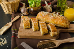 Roll out puff pastry stuffed Stock Image