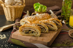 Roll out puff pastry stuffed Royalty Free Stock Photo