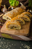 Roll out puff pastry stuffed Royalty Free Stock Photos