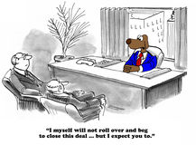 Roll Over and Beg. Business cartoon about doing whatever is takes to close the deal Royalty Free Stock Photography