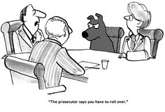 Roll Over. Legal cartoon about a prosecutor telling a dog he has to `roll over Royalty Free Stock Photos