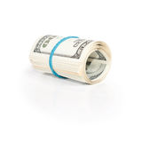 Roll pack of dollars isolated on white Royalty Free Stock Photos