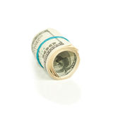Roll pack of dollars isolated on white Royalty Free Stock Images