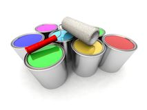 Roll Painter And Color Cans Stock Photos