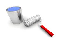 Roll painter and blue can. A 3d render of some roll painter and blue can Royalty Free Stock Photos