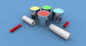 Roll Painters And Color Cans Stock Photography