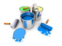 Roll painters, color cans and splashing Royalty Free Stock Photography